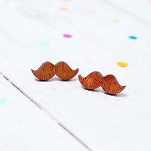 Wooden Moustache Earrings
