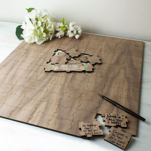 Personalised Wooden Wedding Guest Puzzle Square - guest books