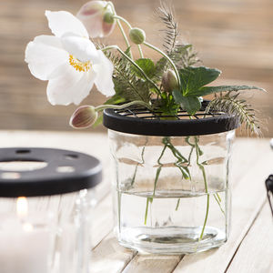 Jam Jar Flower Vase With Wire Net Cover - home accessories