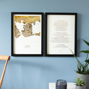 Golden Wedding Prints Set With Foiled Map And Vows