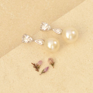 Pearl And Teardrop Earrings - earrings