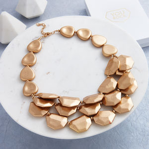Chunky Layered Rock Necklace With Gift Box
