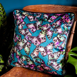 Peacock Butterfly Velvet Cushion