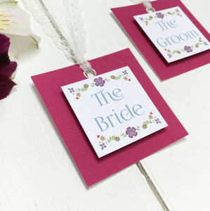 Floral Embroidery Wedding Place Setting Tag