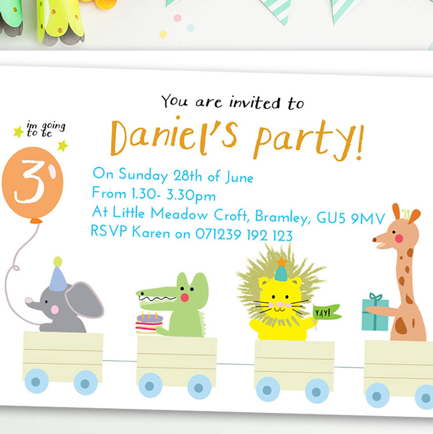 boy\'s birthday party invitations \'animal train\' by august & grace ...