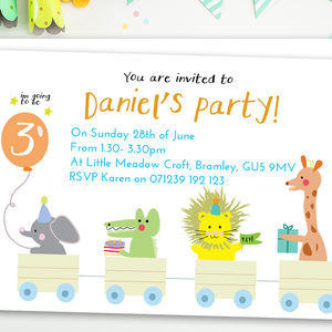 Boy's Birthday Party Invitations 'Animal Train'
