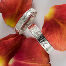 Woodland Wedding Rings In 18ct White Eco Gold