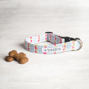 Blue And Pink Floral Dog Collar