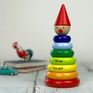 Personalised Wooden Clown Stacking Toy - children's decorative accessories