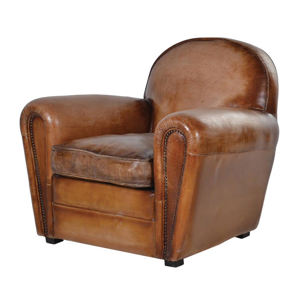 Retro Leather Armchair In Brown