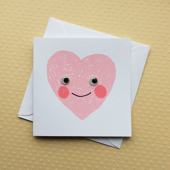 Little Love Heart Screenprinted Card