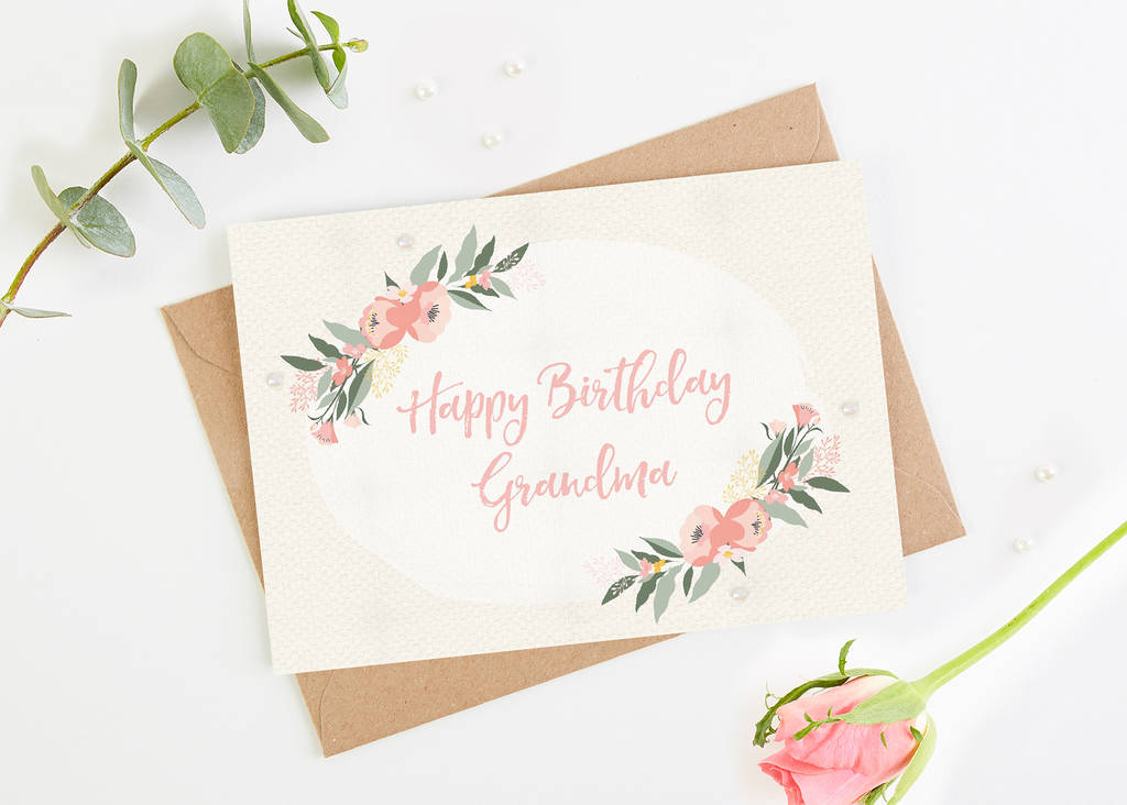 Grandma Birthday Card Floral Botanical By Normadorothy