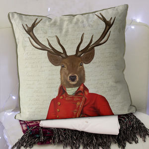 Deer Cushion, Red And Gold Jacket - cushions