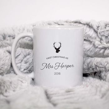 Personalised First Christmas As Mrs Reindeer Mug