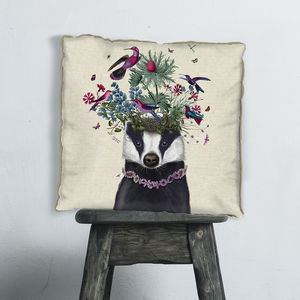 Woodland Badger Decorative Cushion - cushions