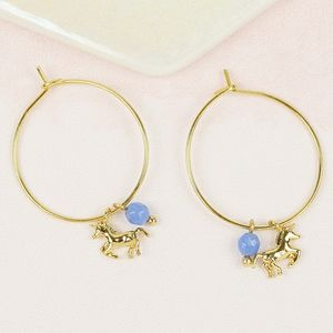 Unicorn Charm Hoop Earrings
