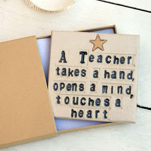 A Teacher Touches A Heart Ceramic Coaster - personalised