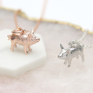 18ct Gold Or Sterling Silver Piglet Necklace