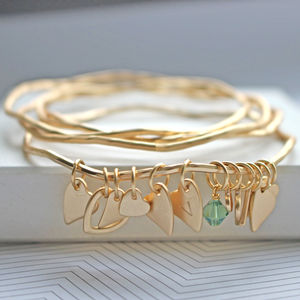 Personalised Heart Bangles With Swarovski Crystals - winter sale