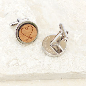 Personalised Wooden Heart Arrow Cufflinks - 5th anniversary: wood