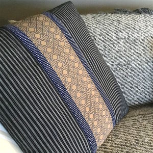 Vintage Stripe Square Quilted Cushion Cover - living room