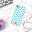 Chevron Blue Personalised Initials iPhone Case