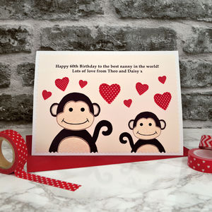 'Monkeys' Personalised Birthday Card From Baby Or Child