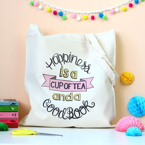 Tea And Books Typographic Tote Bag
