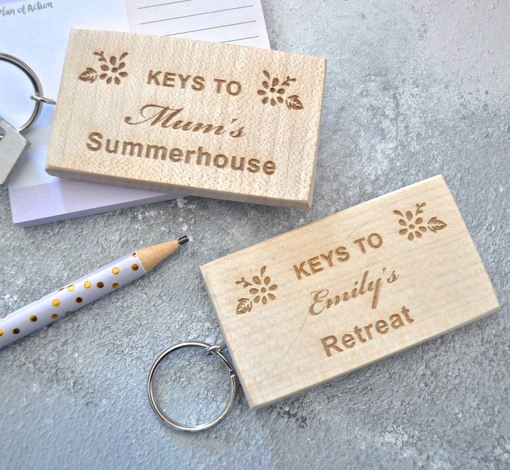 Personalised Wooden Summerhouse Keyring