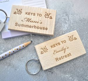 Personalised Wooden Summerhouse Keyring - keyrings
