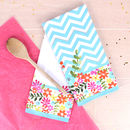 Bright Floral Set Of Two Tea Towels