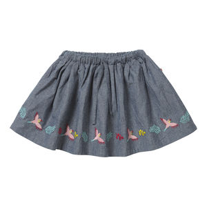 Girls Summer Blue Tropical Embroidered Chambray Skirt