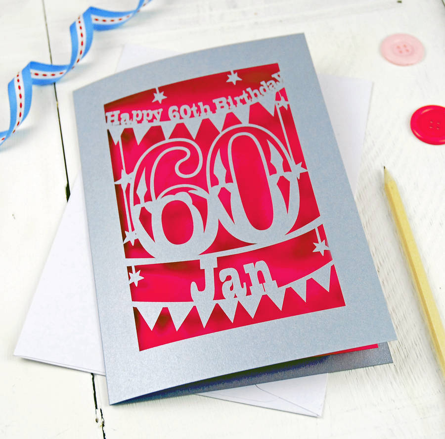 Personalised papercut 60th birthday card by pogofandango personalised papercut 60th birthday card bookmarktalkfo Choice Image