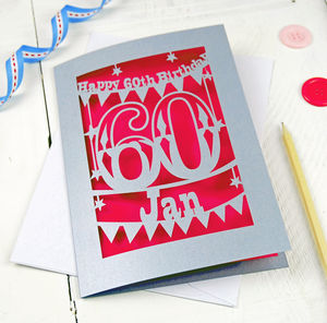 Personalised Papercut 60th Birthday Card