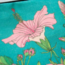 Tropical Hibiscus Lined Cotton Cosmetics Bag