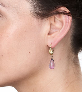 Amethyst And Gold Nugget Drop Earrings - semi precious stones