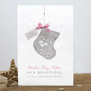 Personalised 'Baby's First Christmas' Stocking Card - new in christmas