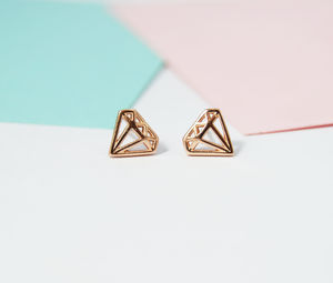 Diamond Shape Geometric Stud Earrings - contemporary jewellery