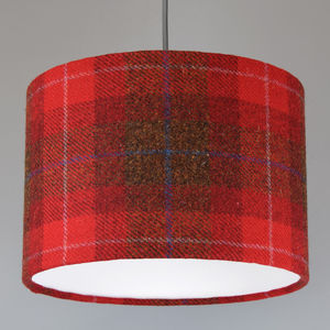Red Check Harris Tweed Lampshade - bedroom