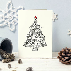 Ten Traditional Typographic Silhouette Christmas Cards - cards