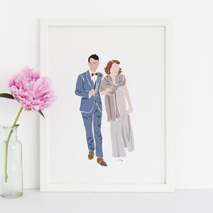 Couple Custom Portrait Illustration - engagement gifts