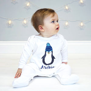 Personalised Penguin Sleepsuit - baby's first christmas