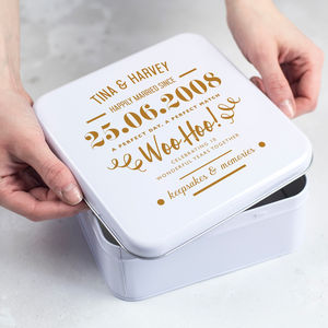 Personalised 10th Anniversary Typographic Tin Box