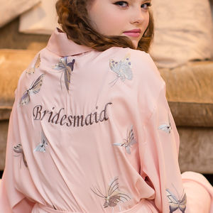 Personalised Bridesmaid Butterfly Dressing Gown Short