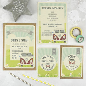 Vw Campervan Wedding Stationery Set - invitations