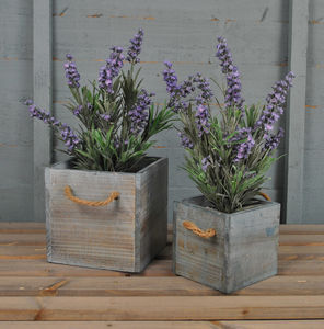 Blue Washed Pair Of Wooden Planters
