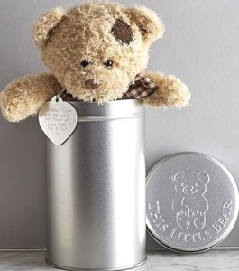 Personalised Teddy In A Tin - baby & child