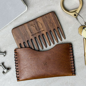 Personalised Wood Beard Comb And Leather Pouch