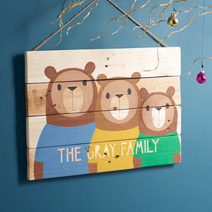Personalised Reclaimed Wood Bear Family Portrait - housewarming gifts