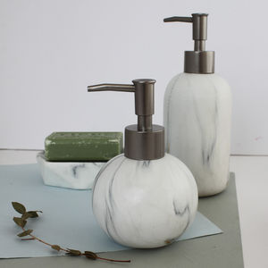 Marble Effect Round Soap Dispenser